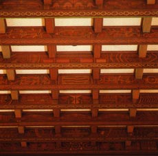 Winthrop Hall's ceiling rafters embellished with aboriginal motifs.
