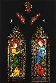 "Annunciation window (1847), St. Joseph's Church, Hobart. This Hardman stained glass was given to Bishop Willson by Pugin and includes the inscription: ""Pray for the good estate of Augustus Welby de Pugin"". Photo Tasmanian Museum and Art Gallery."