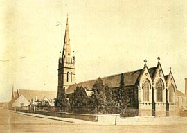 St. Benedict's Church (1845- 56), Broadway, Sydney, before alteration. The largest completed Pugin church in Australia, it was sadly shortened and mutilated during reconstruction to allow for the widening of Broadway in the 1940s. Photo Cambridge University Library, Royal Commonwealth Society Collection.