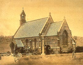 St. Paul's Church (1851), Oatlands, Tasmania. A fine example of Pugin's simplest idiom for modest parishes, built under the supervision of convict architect Frederick Thomas, after an 1843 Pugin scale model. Photo Archdiocese of Hobart Museum and Archives.