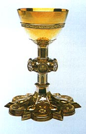 Silver chalice (1847), for wine of eucharist, made to Pugin's design from a melteddown classical chalice presented to Bishop Willson by Pope Pius IX.
