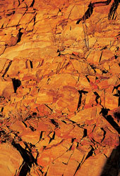 The block work colours come from rock strata in the
