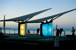 The flying forms of the three information nodes, by Peddle Thorp Architects, house a variety of interpretive information and give visual and physical relief on the boardwalk. Image: Andrew Lane