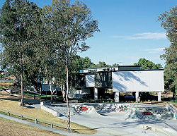 North elevation, abutting the community skate park. Image: Scott Burrows
