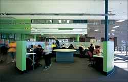 A computer hub within the main library space. Image: Tyrone Brannigan