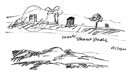 Sketches of the region – tall tobacco sheds are a reminder of earlier crops.
