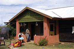 An example of a concrete block house provided by Tangentyere Council and designed by Jane Dillon and Mark Savage for Alice Springs town camps between 1984 and 1986. The design is characterized by extensive verandah and sleep-out areas for external activities and visitor accommodation.
