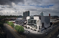 1 Standing side by side in Southbank – the MTC Theatre and the Melbourne Recital Centre.