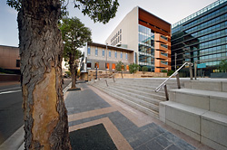 The forecourt to the Sydney West Trial Courts, by Lyons, with Bates Smart's Justice Building adjacent. Image John Gollings